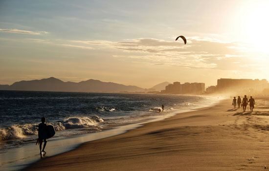 Barra da Tijuca, the Biggest Rio Beach is ideal for Water Sports, including Surfing and the Popular Kite-Surf.