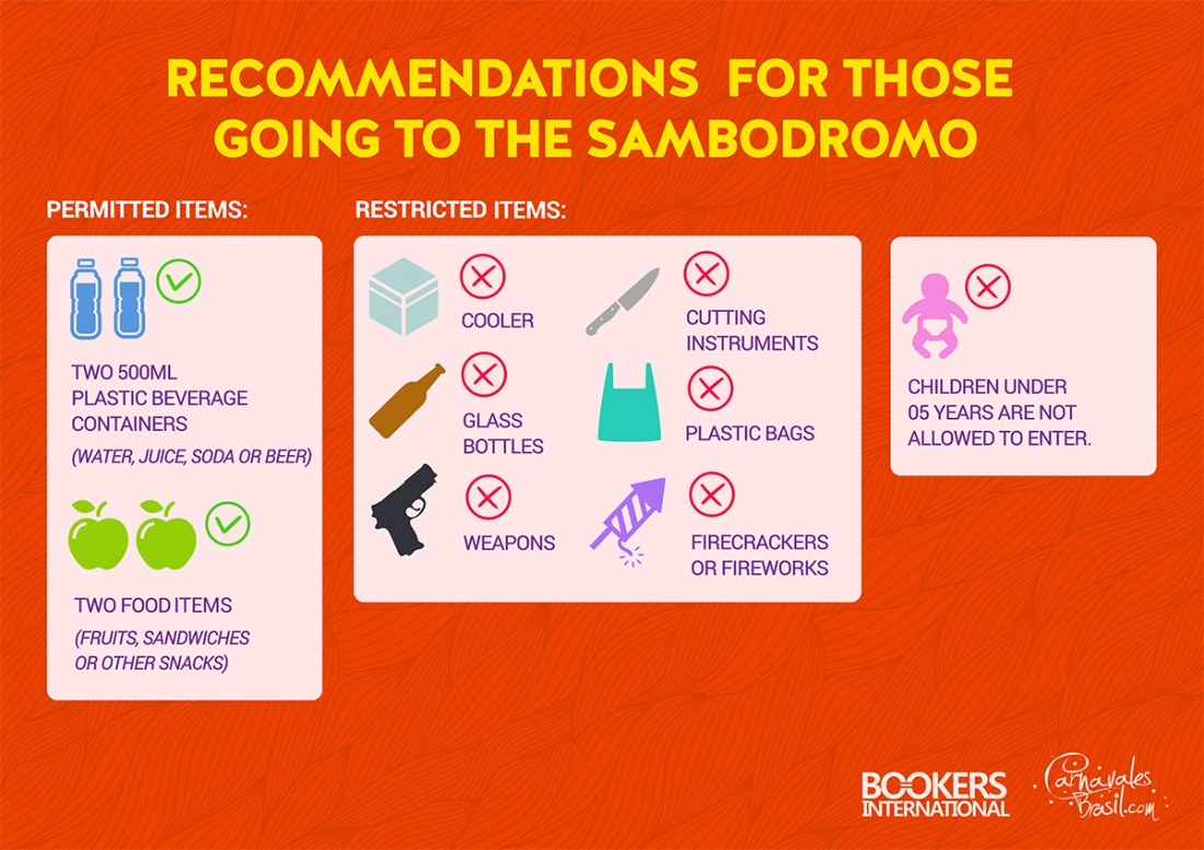 Recommendations for those going to the Sambadrome