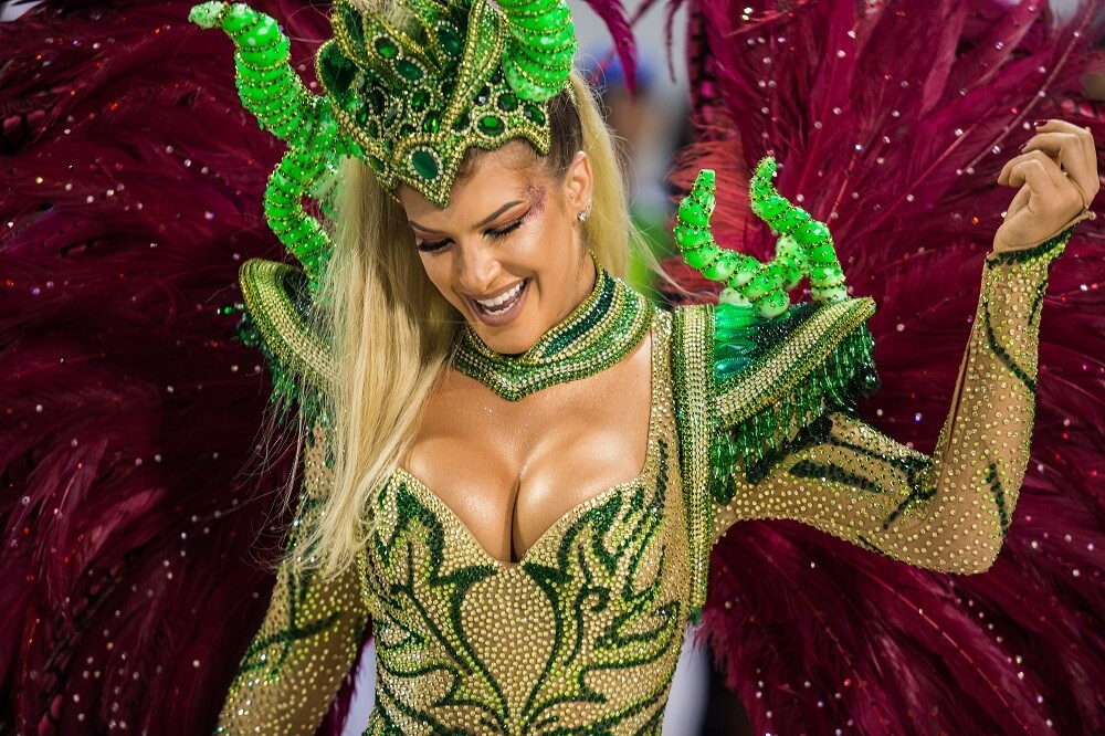 Rio Carnival celebrity wearing a luxury costume