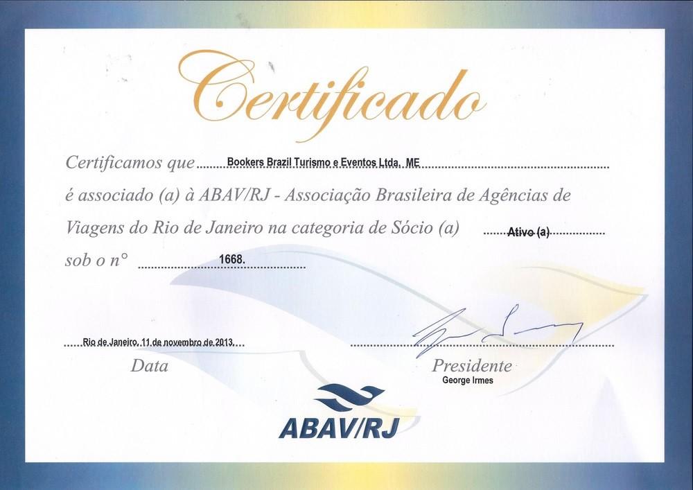 Rio de Janeiro travel agency association certificate Bookers