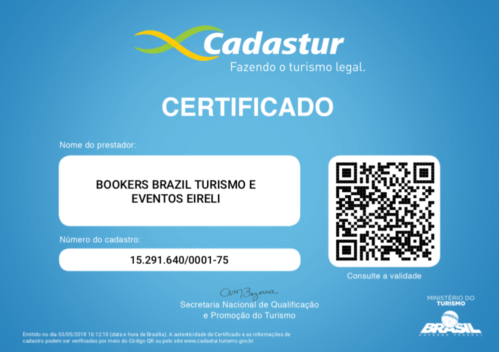 Certificado Cadastur de Bookers International