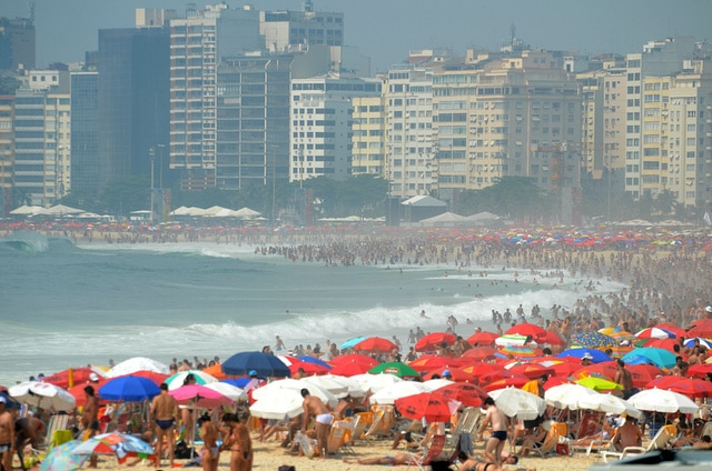 Beaches and crowds in Copacabana, Rio de Janeiro