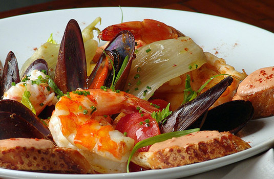 Seafood plate served in Rio