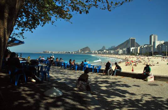 Fishers and Leme Beach in Rio de Janeiro Brazil