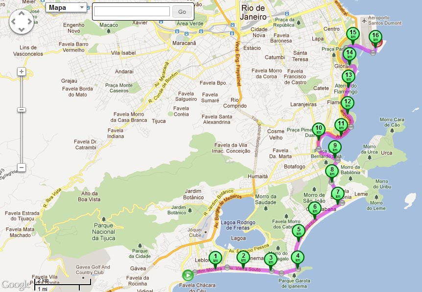 Map of Leblon downtown cyclepath