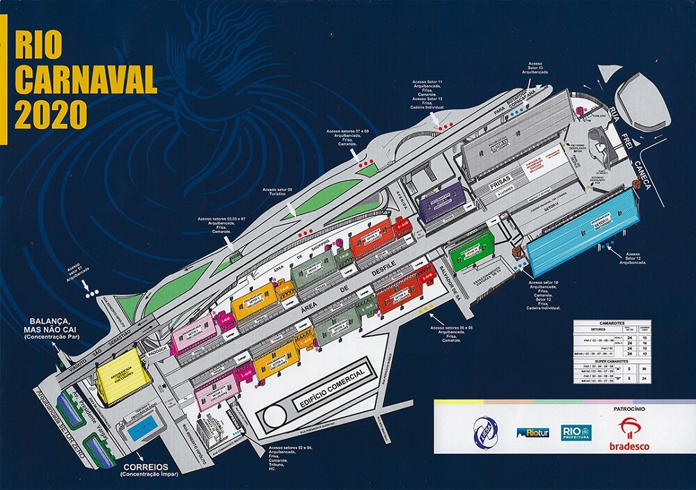 Rio Carnival Sambadrome Map Bookers International