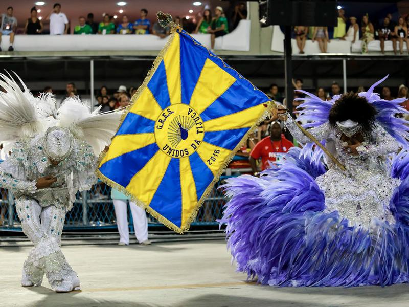 Mestre Sala and Porta Bandeira - Rio carnival parade in Brazil