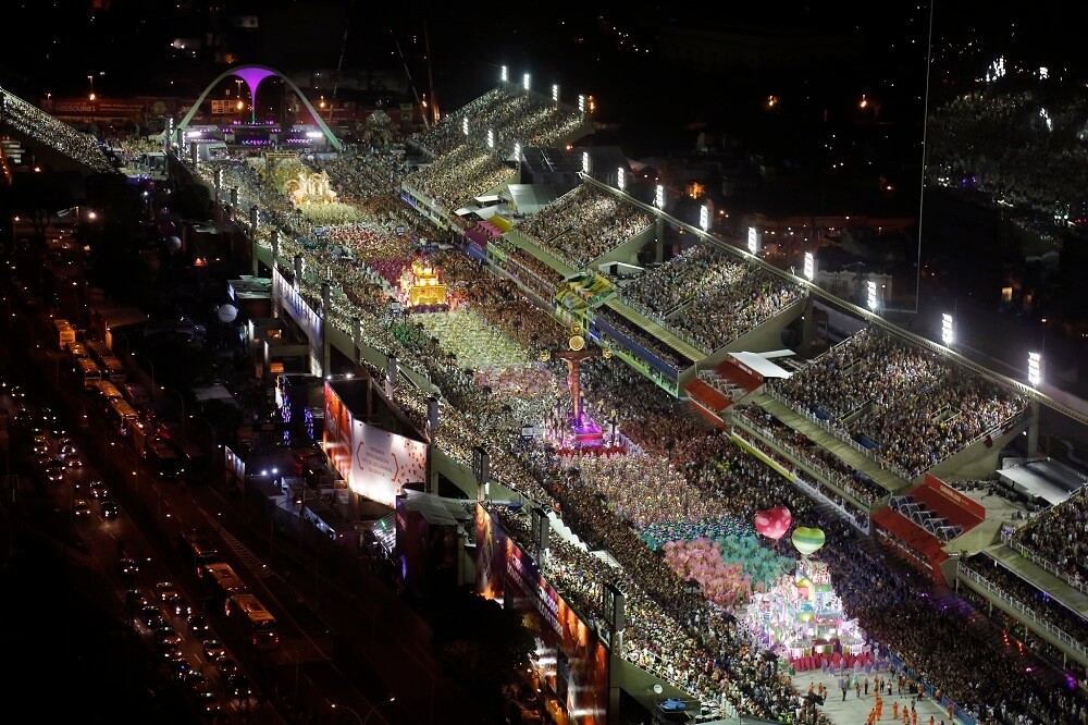 Aerial view of a samba school parade in the Sambadrome