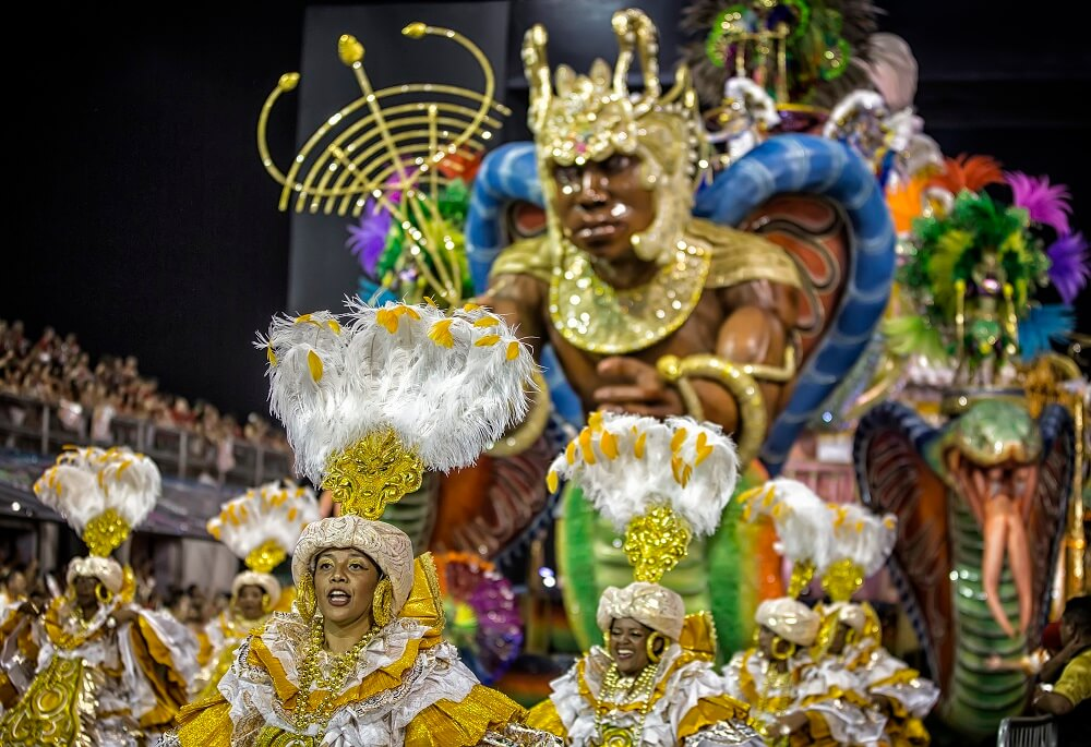 Sao Paulo Carnival parade with dancers and floats