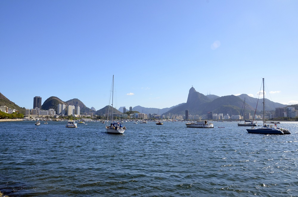 Boats in the sea at Urca beach
